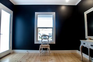 Feature walls enhance the look of the polished baltic pine floor boards