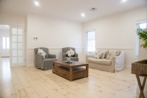 Coutnry style lounge room is a feature of this Balhannah home by Shire Homes