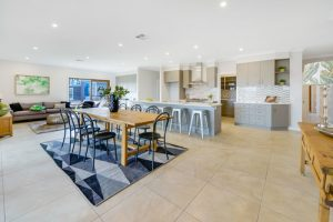 Designer open plan kitchen and dining area by Shire Homes built in Mt Barker
